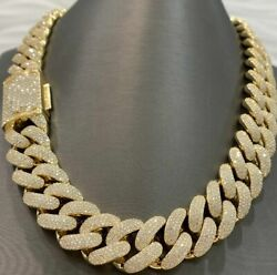 Men's 26mm X 20 Long Glowing Cuban Necklace Chain In 14k Yellow Gold Plated