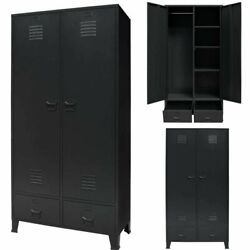 Metal Industrial Wardrobe Cupboard Closet Cabinet Organizer Storage Bedroom
