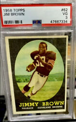 1958 Topps Jim Brown Rc 62 Psa Vg 3 -browns All Time Great - Key Rc Of The 50and039s
