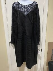 Womens Calvin Klein Black Lace Evening Dress with Lace Long Sleeves Size 22W NWT $49.99