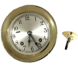 """Chelsea Vintage 41/2"""" Ships Bell Clock Brass With Key"""