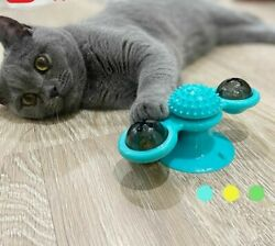 Cat Windmill Toy Funny Massage Rotatable Toy With Catnip Led Ball Teeth Cleaning