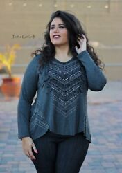New Vocal Womens Plus Size Charcoal Aztec Crystal Bling Shirt Tunic Usa 1x 2x 3x