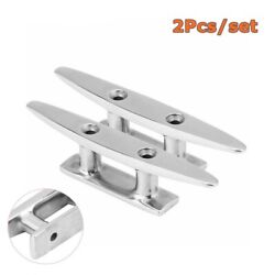2pcs 4 Stainless Steel Mooring Cleat Deck Rope Yacht Marine Boat Dock Cleats