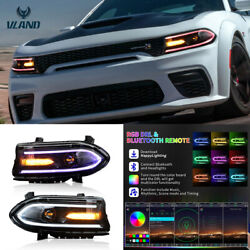 Left And Right Led Rgb Color Change Projector Headlights For 15-20 Dodge Charger