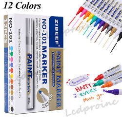 12 Colors Paint Markers Oil based Art Pens Reusable Empty for Rubber Cloth Glass