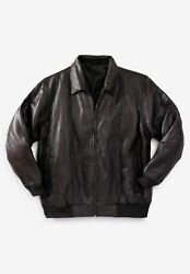 Kingsize Menand039s Big And Tall Embossed Leather Bomber Jacket