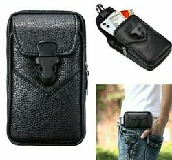 Universal Waist Bag Double Mobile Phone Case Belt Leather Pouch Cover Protect