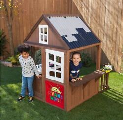 Kids Wooden Outdoor Playhouse Backyard Children Yard Cottage Toy House Gift New