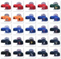 Classic Embroidered MLB Flat Brim Hip Hop Cap Snap back Sports Hat For Unisex