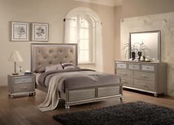 New Champagne Gold Queen King 4pc Bed Set Modern Contemporary Furniture B/d/m/n