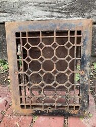 Heavy Cast Iron Ornate Louvered Working Heat Grate Antique Window Vent