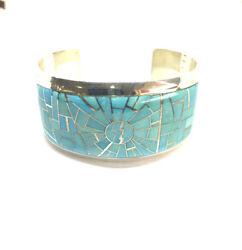 Native Zuni Hand Made Sterling Silver Sleeping Beauty Turquoise Cuff Bracelet