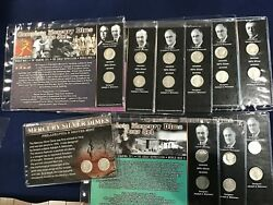 1917-1945 Mercury Silver Dimes 20 Different Mounted In Historical Plaques E6251