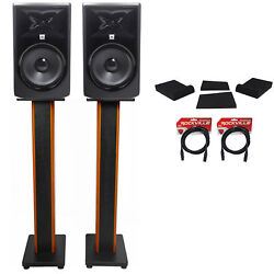 2 Jbl 306p Mkii 6 Studio Monitors+36 Stands+isolation Pads+xlr Cables