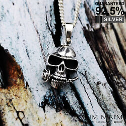925 Sterling Silver Skull With Rose In Mouth Pendant Necklace ✔️gothic ✔️solid