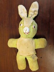 Antique Vintage Washable Plush Rubber Fill Stuffed Toy Bunny Rabbit Face Doll