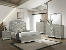 New Modern Champagne Silver Queen King 5pc Bedroom Set Glam Furniture B/d/m/n/c
