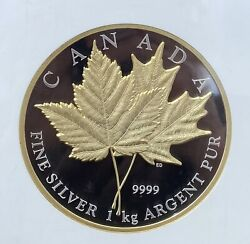 2013 1kilo Silver And Gold Plated Canada Gilt Maple Leaf Forever Ngc Pf69 Ucam
