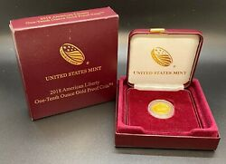 2018-w 1/10th Oz. Gold American Liberty Proof Coin With Box