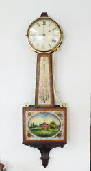 Antique Waltham Weight Driven 8 Day Time Only Banjo Clock Boston State House