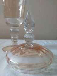 Antique Etched Peach And Clear Apothecary Candy 19 Inch X 5 Wide Jar