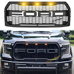 For 2015-2017 Ford F150 Raptor Style Front Grille Bumper Hood Mesh Grill W/ Led