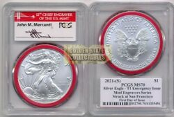 2021-s 1 Silver Eagle Pcgs Ms70 First Day Of Issue Mercanti Signature