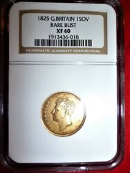 Gold Full Sovereign 1825 King George Iv Shield Bare Bust Coin Ngc Xf40