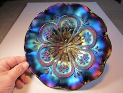 Super Electric Blue Iridescence Dugan Flowers And Frames Carnival Glass Bowl