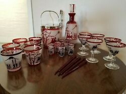 Asian Inspired Etched Cranberry Glass Cocktail Set