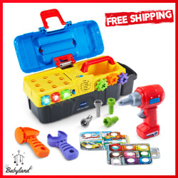 Toolbox Toy Working Drill And Tools Light Up Sounds Button Learn Colors Numbers