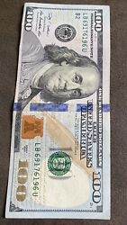 2009 Hundred Dollar Bill Error Miscut With Fancy Serial Number
