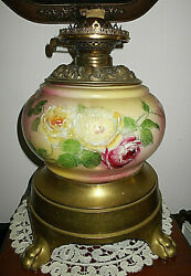 Ant. E.m.andco The Solar Hp Floral Gwtw Porcelain Oil Lampclaw Foot Brass Base