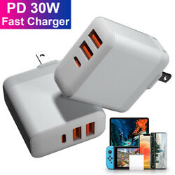 Pd 30w Wall Fast Charger Power Adapter 3 Usb Type C Hub For Iphone 12 11 Xr Xs 8