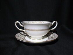 Wedgwood - Florentine Gold W4219- Cream Soup Bowl And Stand