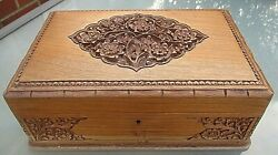 Stunning Antique Large Carved Wooden Jewellery / Collectors Box / Coin Chest