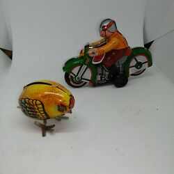 2 Vintage Friction Wind Up Toys Tin Lithograph Japanese Motorcycle Chick Chicken