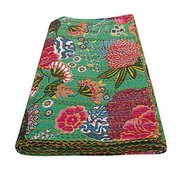 Green Cotton Floral Print Quilt Kantha Bohemian Bed Cover Handmade Blanket Decor
