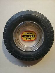 Vintage Mexican Soft Rubber Glass Ashtray General Popo Tire From 1950´s Rare Htf