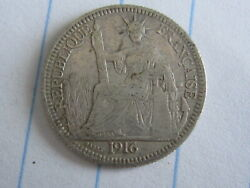 10 Cent Indo-china Silver Coin 1916 See Photos B229