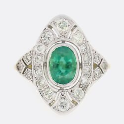 Emerald Gold Ring - Art Deco Style Emerald And Diamond Ring 18ct Yellow Gold