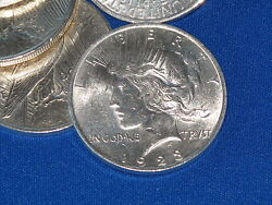1923-p Peace Silver Dollar Brilliant Uncirculated Roll Of 20 B6452