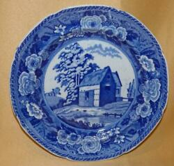 Minton Pearlware Monks Rock Series Thatched Barn Blue And White 6 Plate C1815