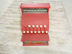 Childs Toy Metal Cash Register Red Tom Thumb Western Stamping Co. Works Well Pus