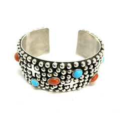 Navajo Indian Hand Made Slerling Silver Turquoise And Coral Cuff Bracelet