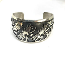 Hyson Craig Navajo Hand Made Sterling Silver Over Lay Katchina Dancers Bracelet