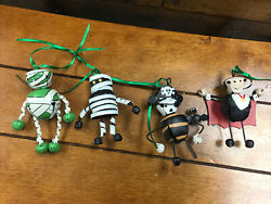 Lot Of Four Halloween Jingle Bell-metal Ornaments Two Mummy's, Dracula And Pirate