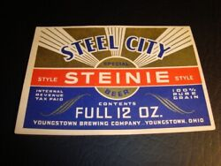 Circa 1930s Youngstown Brewing Steel City Steinie Beer Irtp Label Ohio