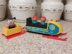 Complete 705 Mini Snowmobile Red Skis Vintage Fisher Price Little People